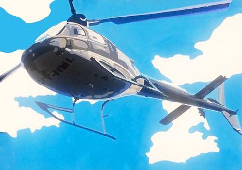 Leinwandbild Direkt Art HOSEUS, Helikopter, 140x100 Hubschrauber in der Luft