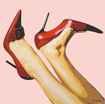 Leinwandbild High Heels rot 100x100, Kunst: HOSEUS macht Direkt Art: Leinwandbilder, Skulpturen. HOSEUS ist ein Künstlerpaar in München und erschafft seine Werke mit Fusiontechnik