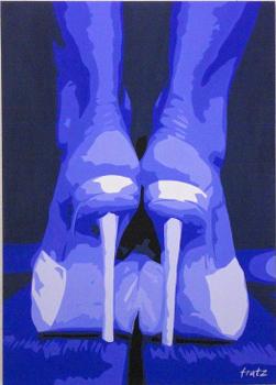 Leinwandbild High Heels blau 100x140, Kunst: HOSEUS macht Direkt Art: Leinwandbilder, Skulpturen. HOSEUS ist ein Künstlerpaar in München und erschafft seine Werke mit Fusiontechnik