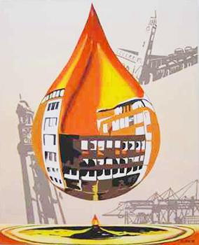 Leinwandbild Direkt Art HOSEUS, Oeltropfen Hamburg 80 x 100