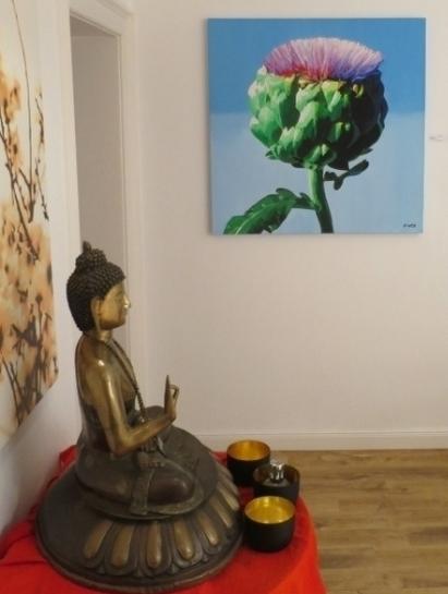 Ausstellung: Leinwandbild Artischocke in der Previum-Lounge, München
