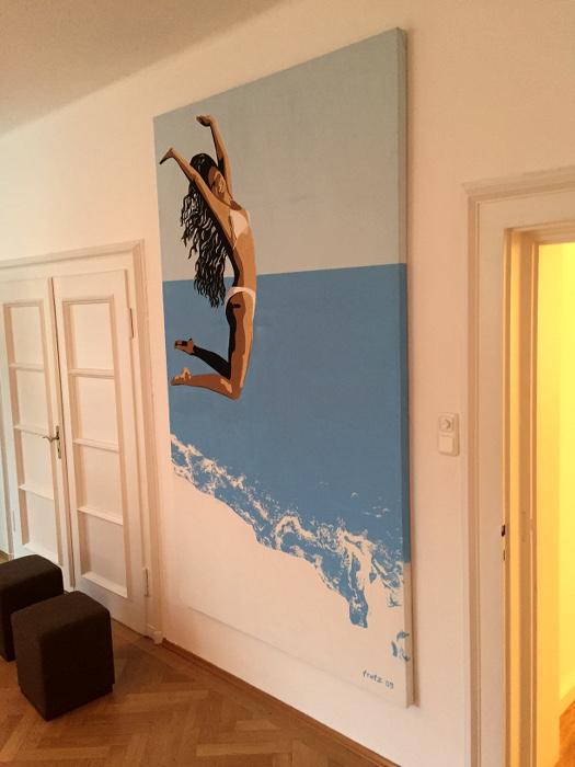 Ausstellung: Leinwandbild Jump in der Previum-Lounge, München