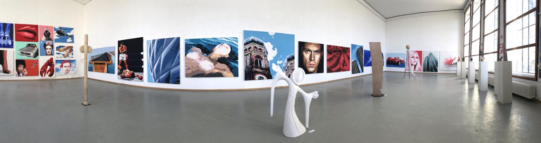 Kunst-Ausstellung HOSEUS , über 70 Leinwandbilder und Skulpturen Orangerie am chinesischen Turm im Englischen Garten München
