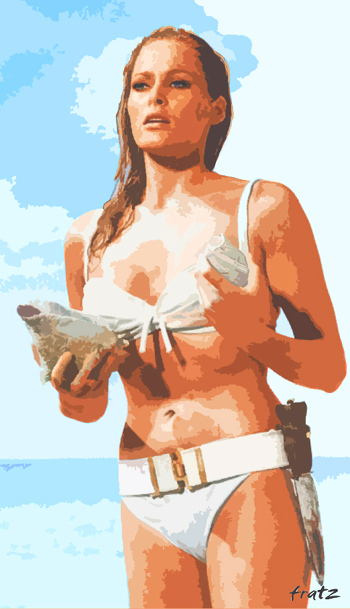 Kunst: Leinwandbild Ursula Andress, James Bond, 110x200, HOSEUS, Das erste Bond-Girl