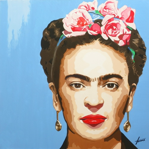 Frida Kahlo, 90 x 90, Acryl auf Leinwand, HOSEUS, Leinwandbild Direkt Art HOSEUS
