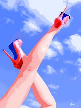 High Heels rosa, 140x100, Acryl auf Leinwand HOSEUS, Leinwandbild Auftrags-Kunst