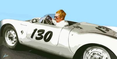 James Dean im Porsche, 100x200, Acryl auf Leinwand HOSEUS, Leinwandbild