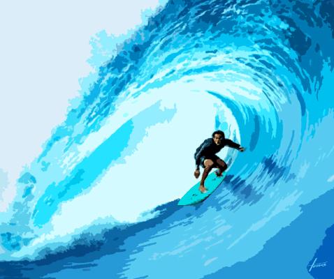 Leinwandbild Surfer, 1,5 x 1,8 m, Acryl auf Leinwand von HOSEUS, Blaue Wellen, Surfer in der Mitte