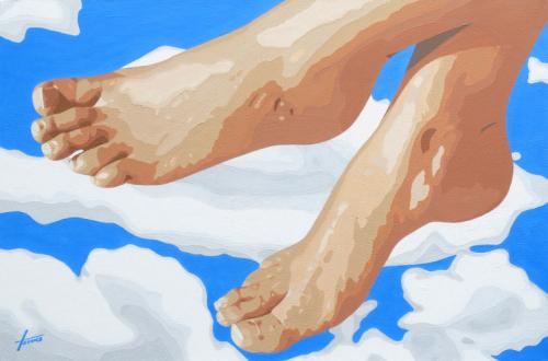 Leinwandbild Himmlische Fuesse, 0,8 x 1,2 m, Acryl auf Leinwand von HOSEUS, nackte füsse vor weissen Wolken und blauem Himmel