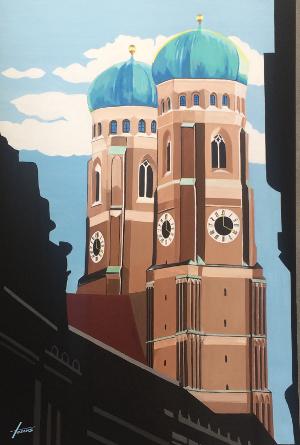 Leinwandbild Frauenkirche über Muenchen, 1,4 x 1 m, Acryl auf Leinwand von HOSEUS , blick vom Amiraplatz über der schattigen Strasse
